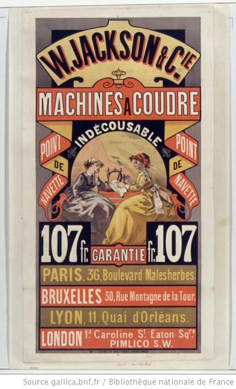 affiche machine à coudre W Jackson & Cie 1869