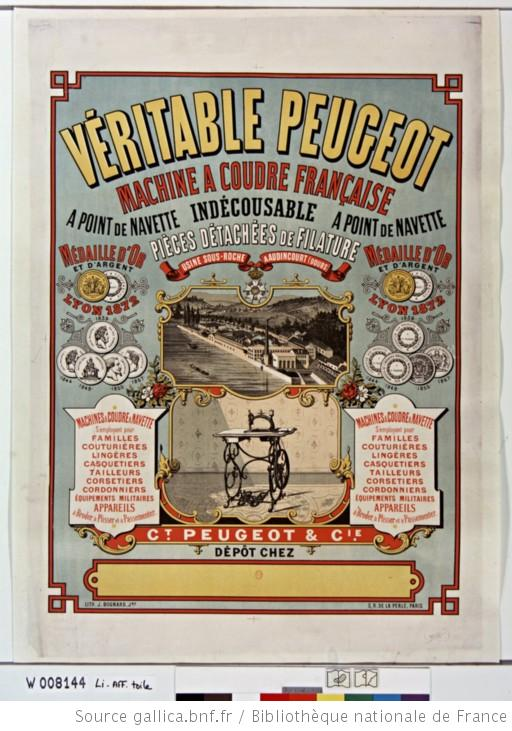 Publicité Machine à coudre Peugeot 1878