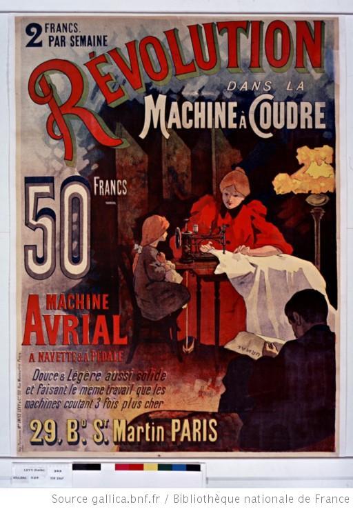 publicité Machine à coudre Avrial 1895