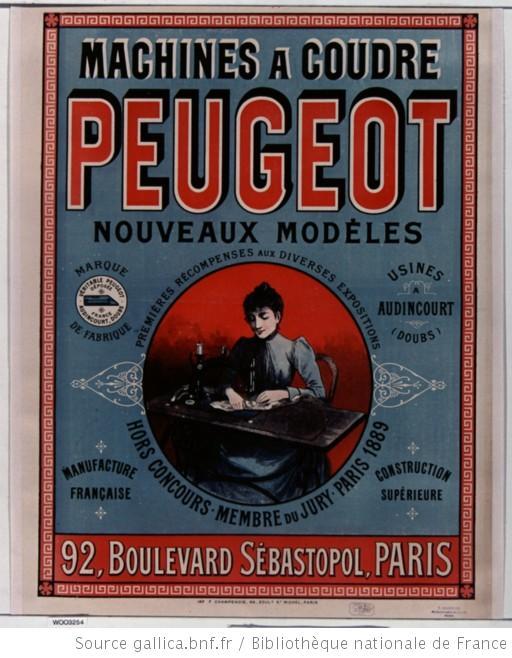 pub machine à coudre Peugeot 1890