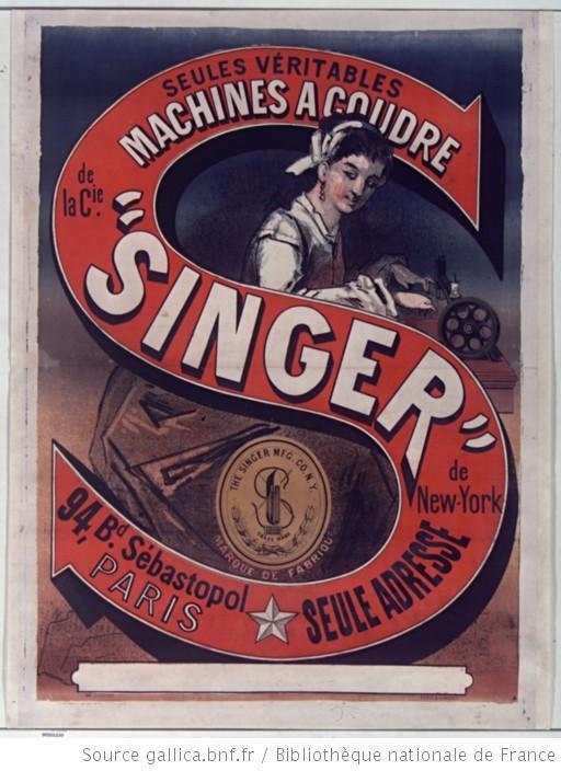 publicité machine à coudre singer 1870