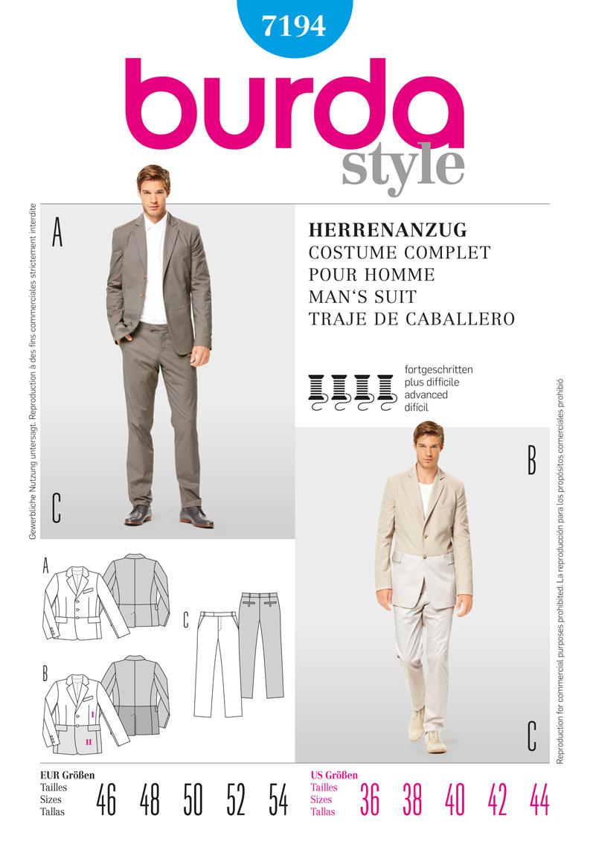 Burda collection printemps été 2012 - Costume homme réf. 7194