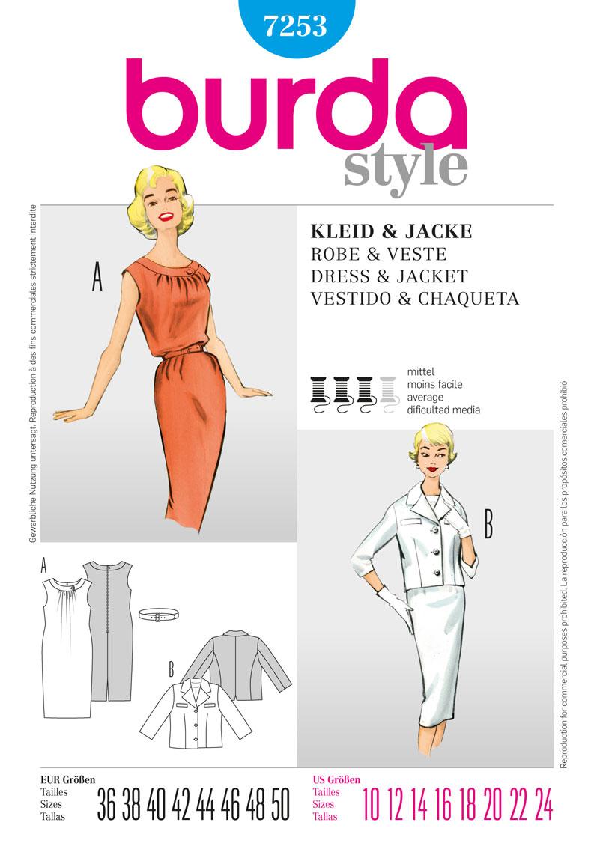 Burda collection printemps -été 2012 - Robe et veste années 50 réf.7253