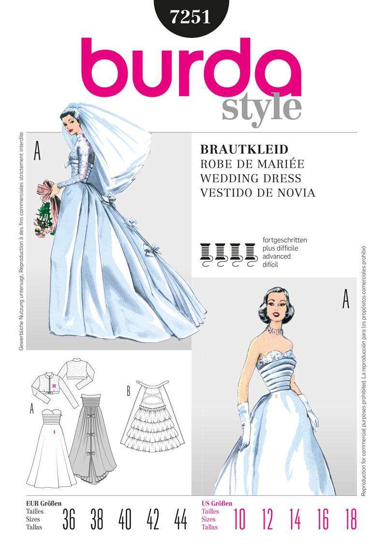 Burda colelction printemps-été 2012 - Robe de mariée années 50 réf.7251