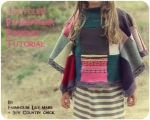 Pulls recyclés en poncho par Sew Country Chick
